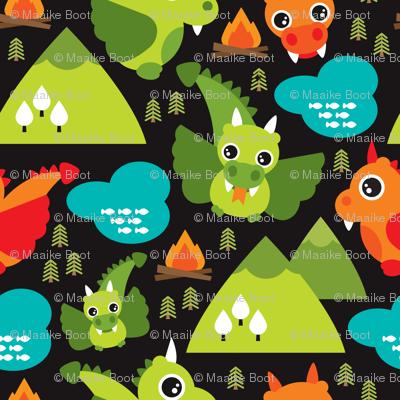 Cute baby dragon fantasy woodland for boys illustration print