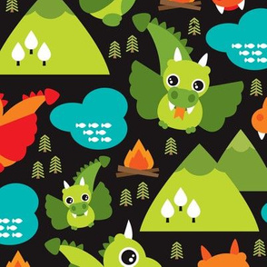 Cute baby dragon fantasy woodland for boys illustration print