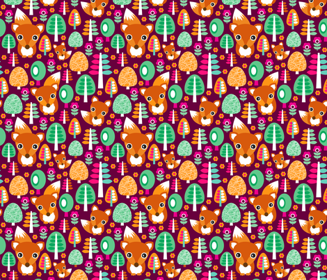 Autumn fox woodland flowers trees and animals for girls fabric by littlesmilemakers on Spoonflower - custom fabric