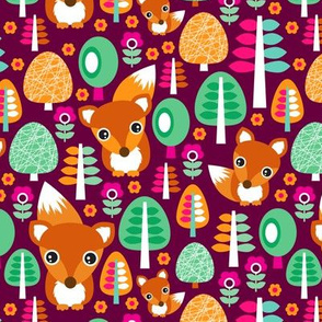 Autumn fox woodland flowers trees and animals for girls