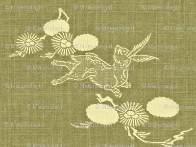 Woodland Hare - sage grass green & cream