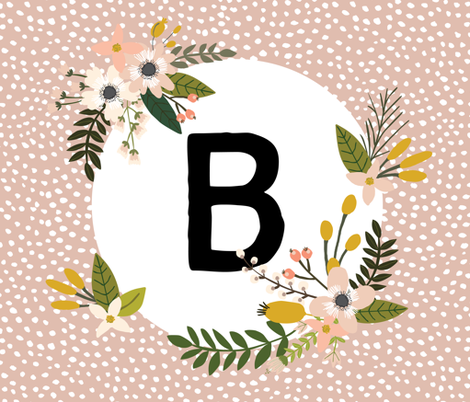 Blush Sprigs and Blooms Monogram Blanket // B fabric by ivieclothco on Spoonflower - custom fabric