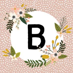 Blush Sprigs and Blooms Monogram Blanket // B