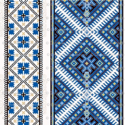 Ukrainian Blue Border Med Ed Ed Ed Ed Fabric Chririch Spoonflower