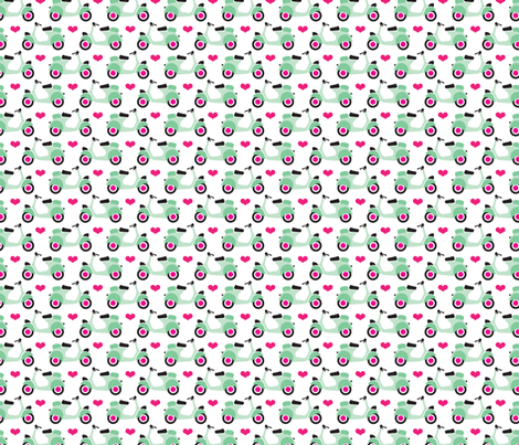 Romantic retro vespa italian scooter travel icon mint fabric by littlesmilemakers on Spoonflower - custom fabric