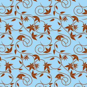 brown swirly flowers on blue