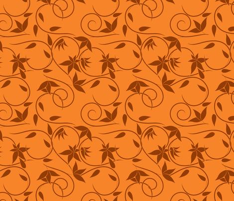 brown swirly flowers on orange fabric by suziedesign on Spoonflower - custom fabric