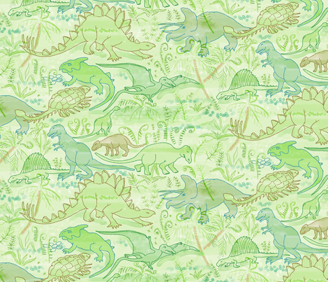 Dinosaurs 2 fabric by vinpauld on Spoonflower - custom fabric