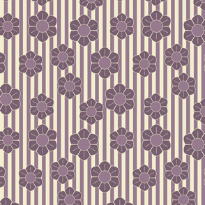 Purple flowers on stripes