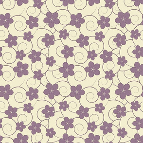 Purple flowers and swirls
