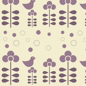 Purple flowers on beige