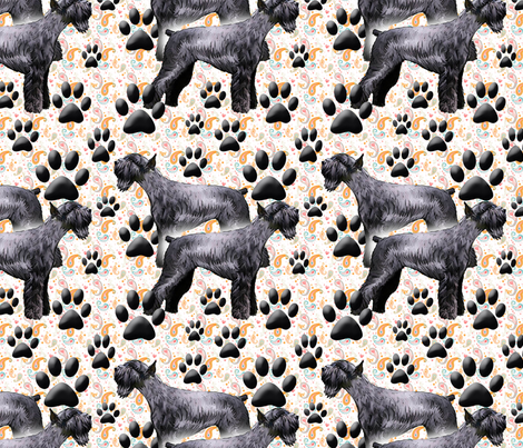 Giant Schnauzers and Paw Prints fabric by dogdaze_ on Spoonflower - custom fabric