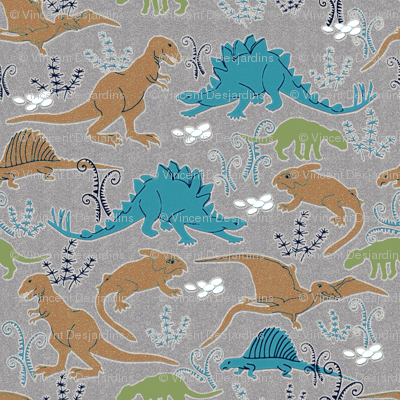 Dinosaurs 4 Blue Tan Green Gray