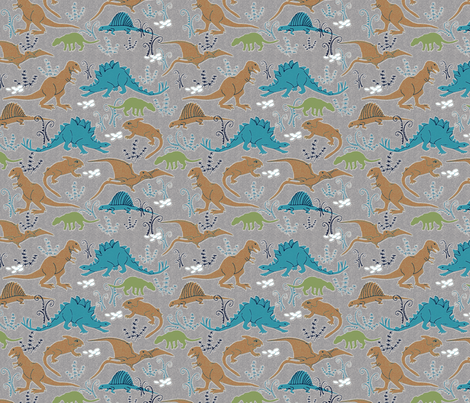 Dinosaurs 4 blue tan green gray fabric vinpauld for Grey dinosaur fabric
