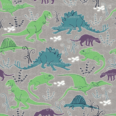 Dinosaurs 3 blue green gray ed fabric vinpauld spoonflower for Grey dinosaur fabric