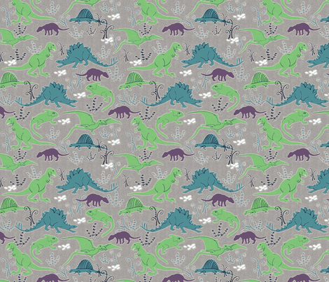 Dinosaurs 3 blue green gray-ed fabric by vinpauld on Spoonflower - custom fabric