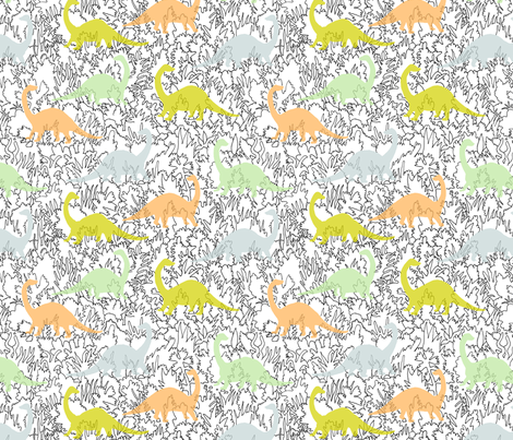 Dinosaur Ghosts fabric by imaginaryanimal on Spoonflower - custom fabric