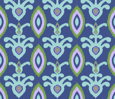 Morning Glory Ikat Indigo and lavender fabric by shellypenko on Spoonflower - custom fabric