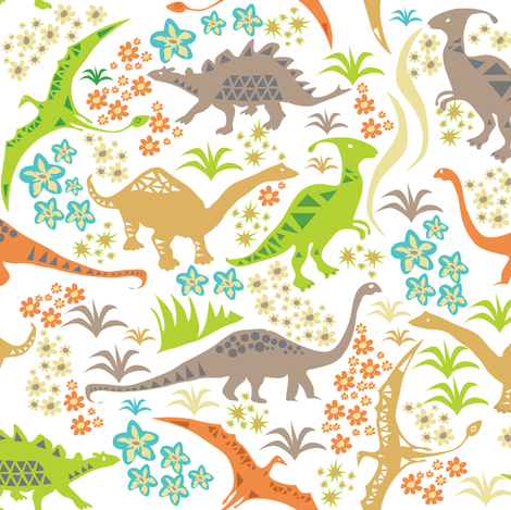 Dino Meadow fabric by sary on Spoonflower - custom fabric