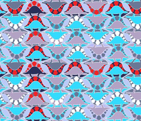 Blue dinosaurs fabric by mezzones on Spoonflower - custom fabric