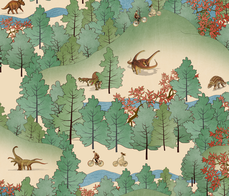 Travelling Through Jurassic fabric by belle13 on Spoonflower - custom fabric