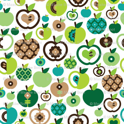 Retro apple kitchen print green fruit summer