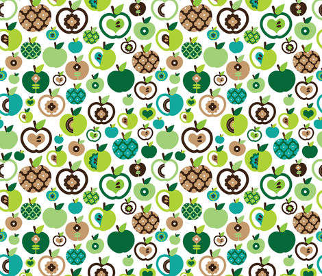 Retro apple kitchen print green fruit summer fabric by littlesmilemakers on Spoonflower - custom fabric