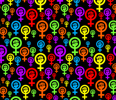 Feminist rainbow on black fabric by spacefem on Spoonflower - custom fabric