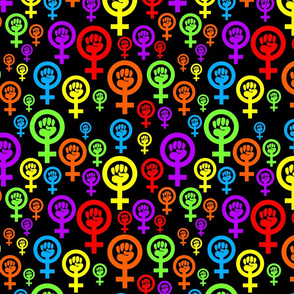 Feminist rainbow on black