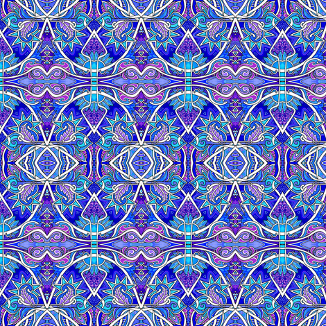 The Paisley and Scallop Blues fabric by edsel2084 on Spoonflower - custom fabric