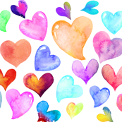 Colorful Watercolor Hearts // white