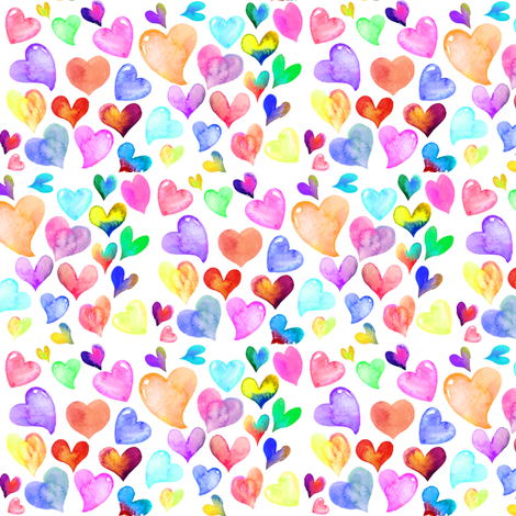 Colorful Watercolor Hearts // white fabric by theartwerks on Spoonflower - custom fabric