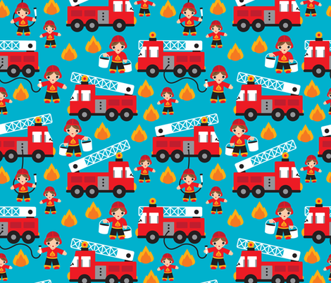 Fire to the rescue fire fighters fire truck and hero boys car fabric fabric by littlesmilemakers on Spoonflower - custom fabric
