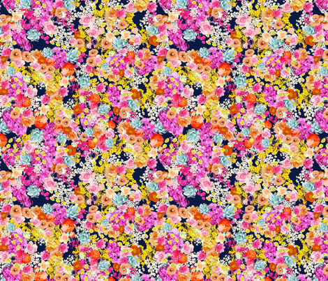 Summer Bright Floral // Navy fabric by theartwerks on Spoonflower - custom fabric