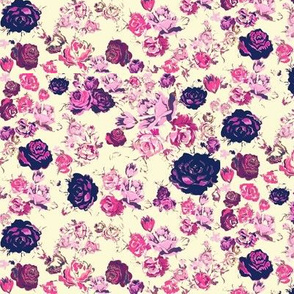 Vintage Floral in Navy and Pink on Ivory