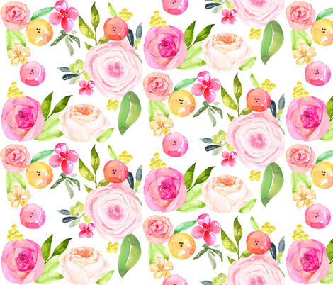 Spring Peonies, Roses, and Poppies Watercolor Print // LARGE fabric by theartwerks on Spoonflower - custom fabric