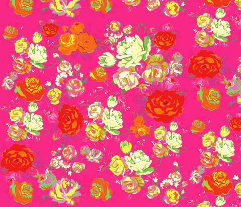 Vintage Floral on Hot Pink with cream, yellow, red, and orange. fabric by theartwerks on Spoonflower - custom fabric