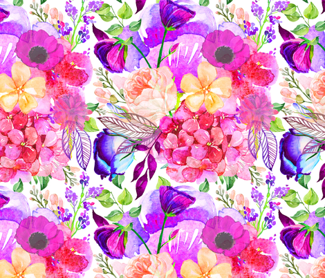 Pretty in Pink Watercolor Floral  fabric by theartwerks on Spoonflower - custom fabric