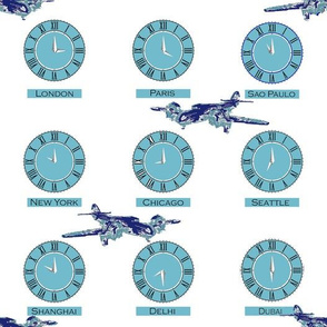 Traveler World Time Zones in the Blues