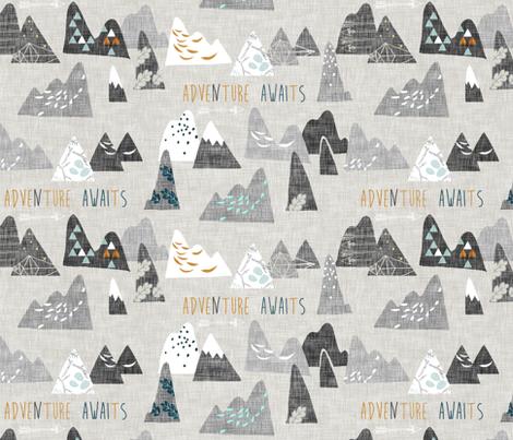 Adventure Awaits (ash) REGULAR fabric by nouveau_bohemian on Spoonflower - custom fabric