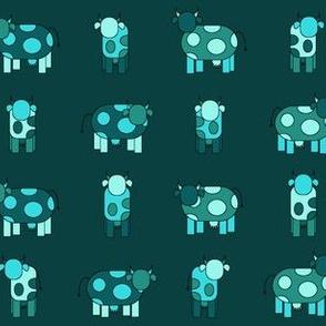 dark aqua cows