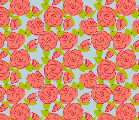 Roses are F57C69 fabric by hugandkiss on Spoonflower - custom fabric