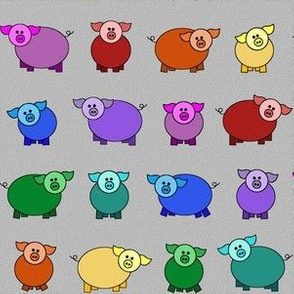 rollicking rainbow pigs