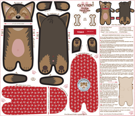 Yorkie_Pencil_Case fabric by woodmouse&bobbit on Spoonflower - custom fabric
