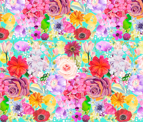 Summer Bouquet // Turquoise  fabric by theartwerks on Spoonflower - custom fabric