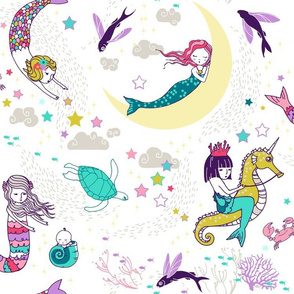 Mermaid Lullaby (Candy white background) LARGE