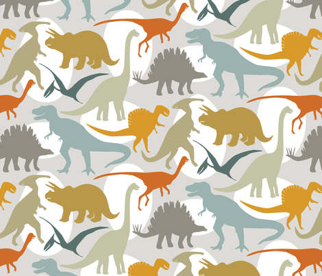 Big Dinos with Eggs fabric by jillbyers on Spoonflower - custom fabric