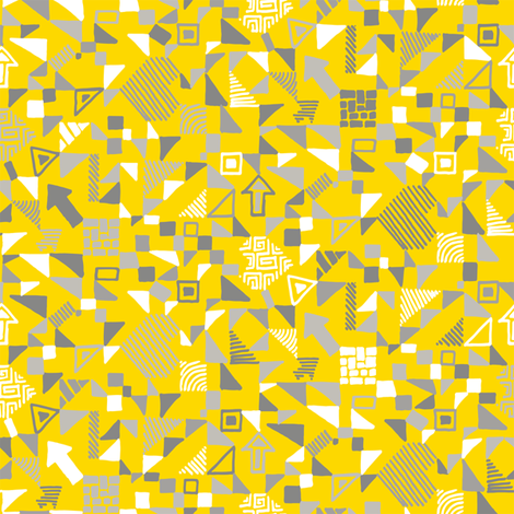 Small-abstract-geometrics-grey-and-white-on-yellow fabric by ladykerry on Spoonflower - custom fabric