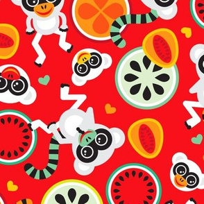 Papaya Mango Monkey circus tropical summer lemur design for kids