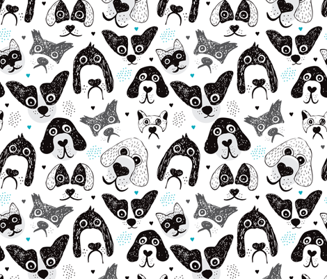I love big silly dogs cute black and white puppy and dog design fabric by littlesmilemakers on Spoonflower - custom fabric